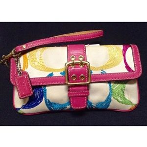 Coach Poppy Pop C Embroidered Scribble Wristlet